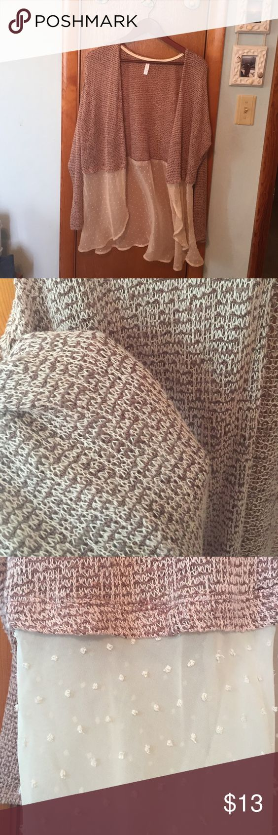 XXL Xhilaration Cardigan Like brand new cardigan only wore once...has sweater top and sheer bottom. Top is brown & rose bottom is cream. Xhilaration Sweaters Cardigans