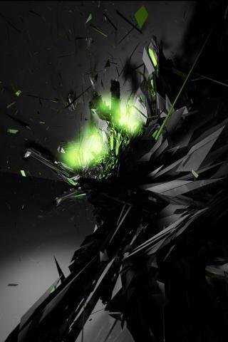 Black And Green Shards Dark Black Wallpaper Cool Desktop Wallpapers Abstract Wallpaper