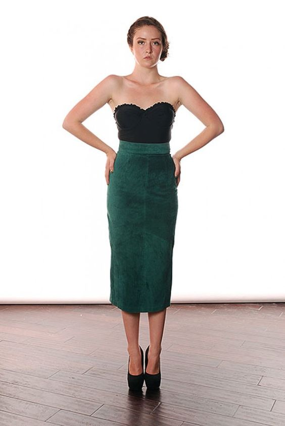 Dark Green Leather Skirt | sequins and things | Pinterest ...