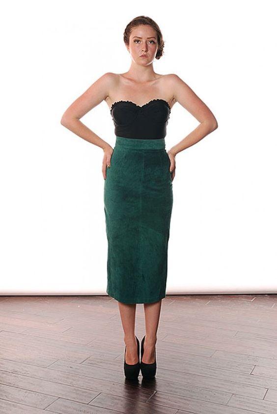 Dark Green Leather Skirt | Jill Dress