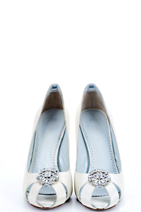 Grazia something blue heels at Mira Bridal Couture. Photo by Stephanie Baker.