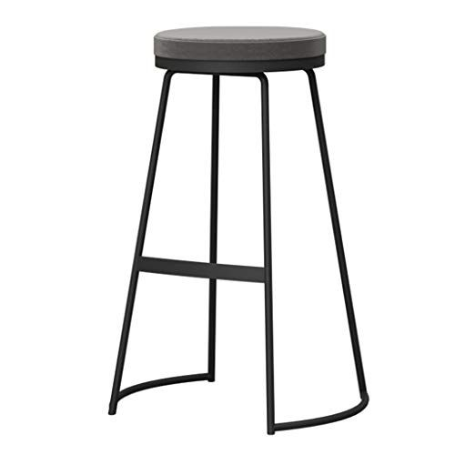 Modern Simple Furniture Barstools Counter Kitchen Black Metal Legs Breakfast High Chair Footrest Upholstere Modern Bar Stools Bar Stools Simple Dining Chairs