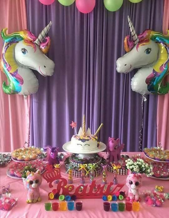 Suministros Para Fiestas Adorno De Pastel Niñas Unicornio Cumpleaños Niña Fiesta