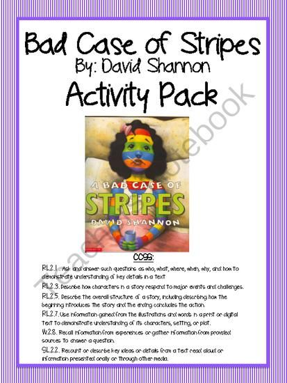 Bad case of stripes activity pack from 2nd grade happenings on