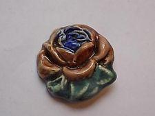 X-Large Vintage Antique Studio Glazed Ceramic Shanked Flower Button