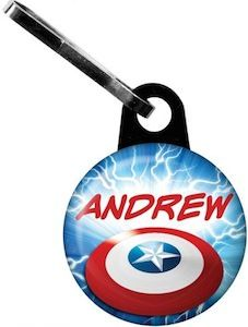 Captain America Zipper Pull. These have you name printed on it and are a great party favor.