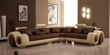 Modern Adjustable headrests Footrests Brown Beige Bonded Leather Sectional Sofa