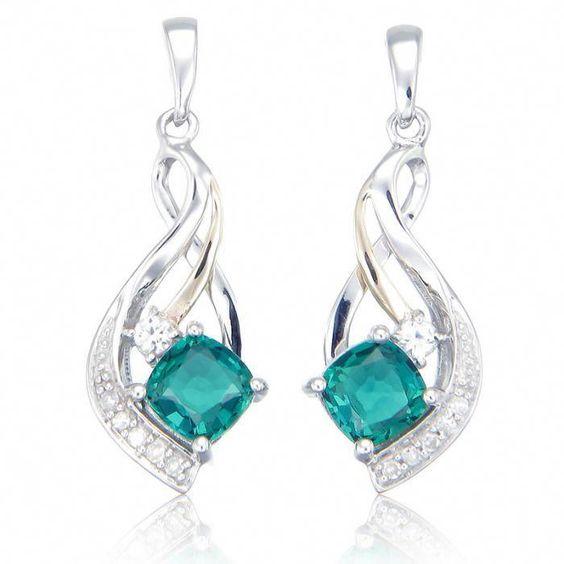 Blue Cubic Zirconia Sapphire 18KWGP Crystal Women Girl Pendant Chain Necklace