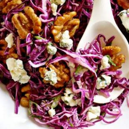 Red Cabbage Salad with Blue Cheese Maple-Glazed Walnuts