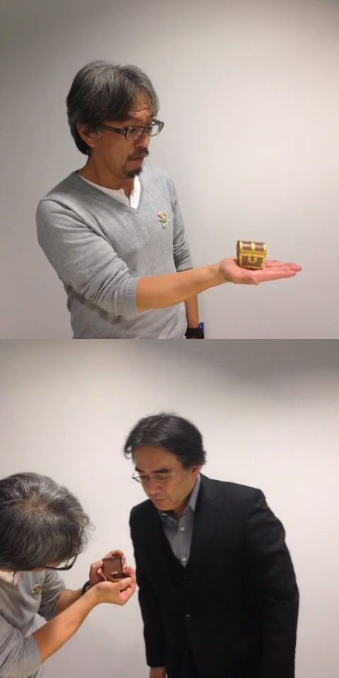 Eiji Aonuma and Satoru Iwata - Zelda mini treasure chest - Nintendo of Europe's post on Vine