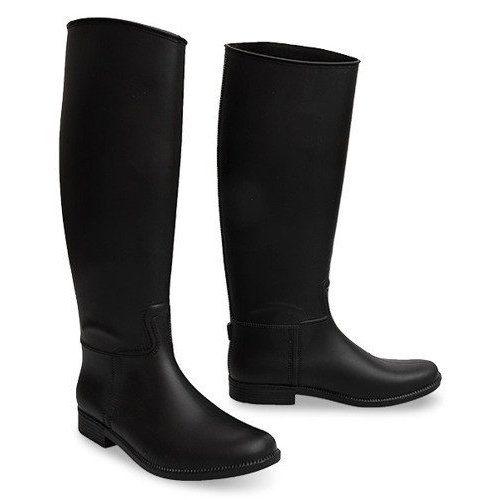 Wysokie Kalosze Oficerki Italy 658 Czarny Czarne Boots Rubber Rain Boots Riding Boots