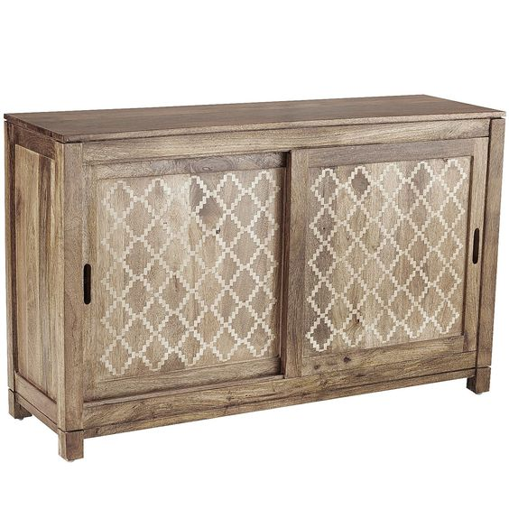 hand carved of solid mango wood our exclusive tv stand features a natural finish carved solid mango wood