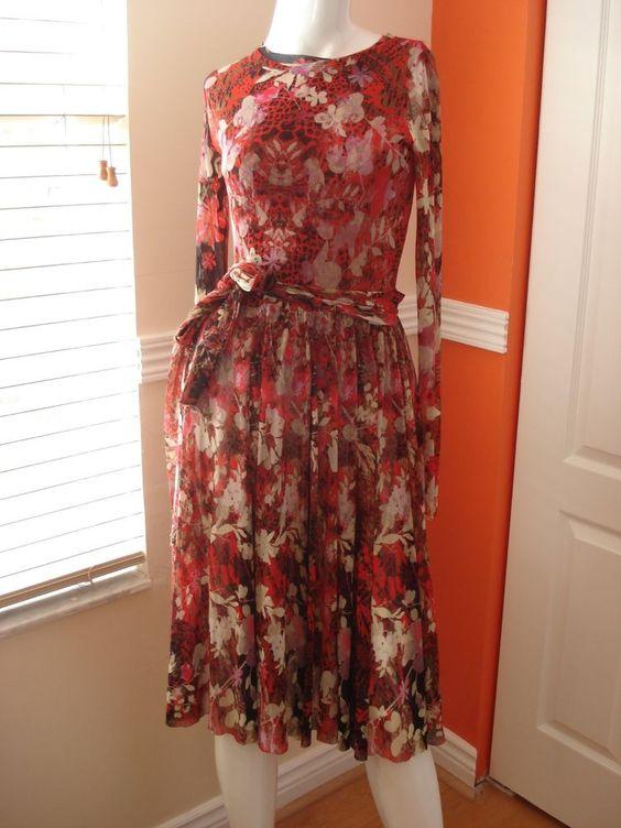 Jean-Paul Gaultier-Fuzzi Belted Multi-Floral Print Dress Size (M)  #JeanPaulGaultierFuzzi