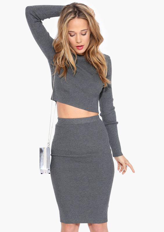 grey matching separates and skirts on