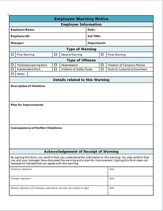 Free Employee Write Up Sheets Employee Written Notice work - employee review form