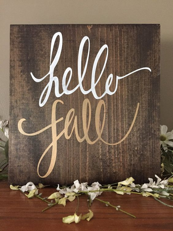 Hello Fall Wood Sign, Gold Fall Decor, Fall Pallet Art, Rustic Fall Decor…