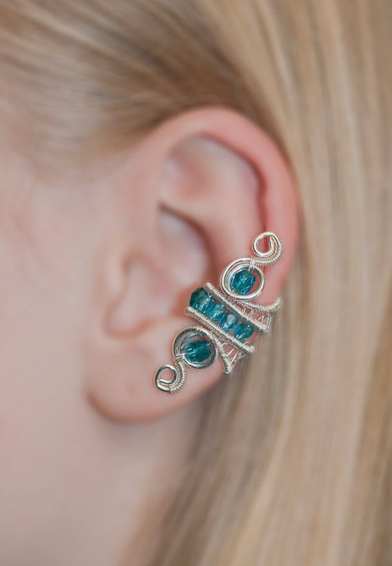 Elven EAR CUFF green blue with czech glass by CharmingWondersCW