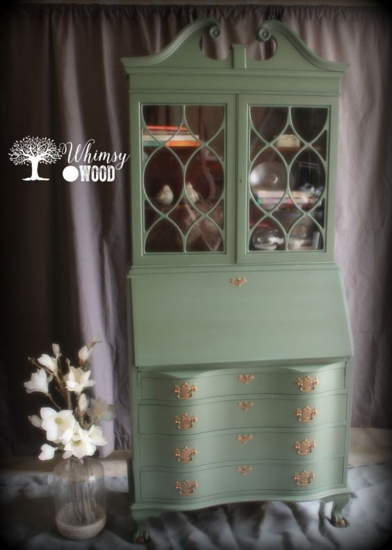 Mahogany Serpentine Secretary Desk with Hutch from Whimsy and Wood