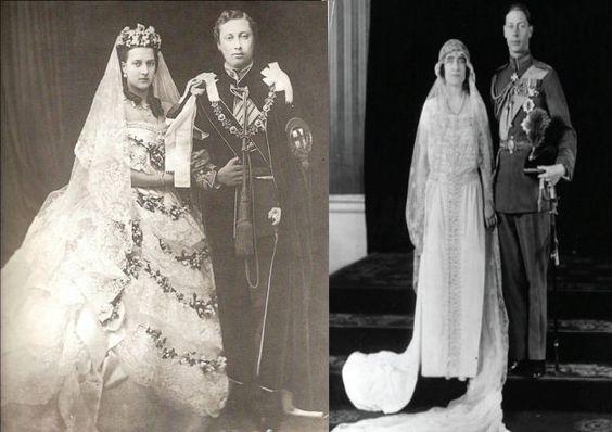La regina Vittoria e la regina madre nel giorno dei loro matrimoni