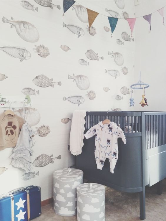 nursery with grey cot: