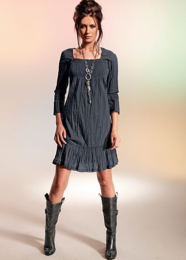Grey smock dress with boots too cute: