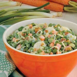 Pea Salad - bacon, peas, water chestnuts, cheese, green onion & ranch dressing