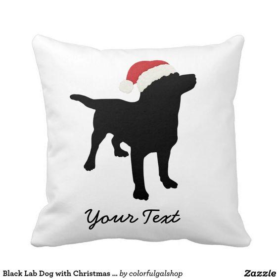 Black Lab Dog with Christmas Santa Hat Pillows