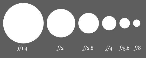Diagrama de abertura: quanto maior o denominador menor a abertura, e consequentemente menos luz entrará na câmera