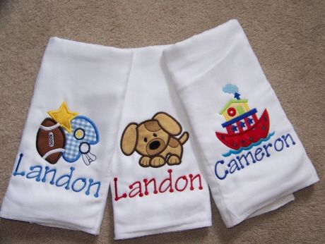 Personalized burp cloths.  $36 for set of three!