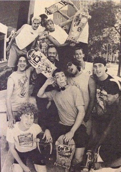 Photo from Transworld skateboard magazine circa 1986. This was a downtown Houston skate session with John Gibson, Ruffcase, Troy Chason, Joe Nichols, Goerge Grant, Bill Daniels and Lee Leal