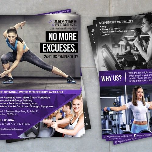 Gym Fitness Campaign For Anytime Fitness Postcard Flyer Or Print Contest Sponsored Postcard Flyer Print Design Anytime Fitness Workout Posters Gym Workouts