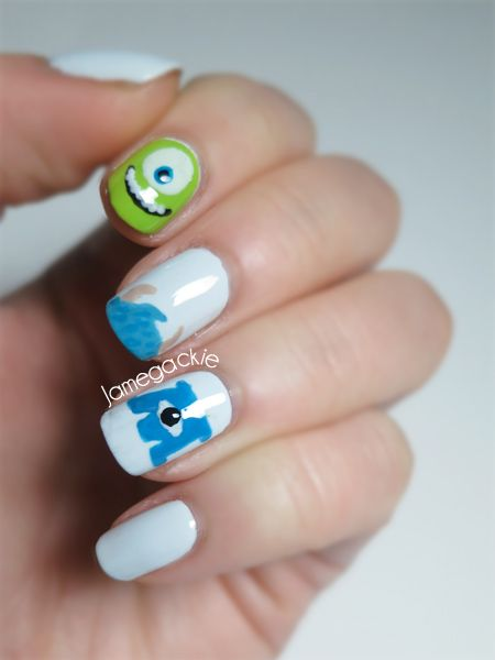 Monsters University Nails-I'm totally going to do this! Awesome ! Will be cute w/my Mike coffee mug!
