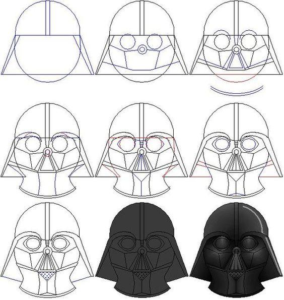 Darth Vader Mask Drawing Darth vader mask, To d...