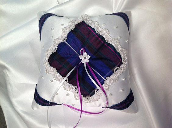 Celtic oreiller de mariage, porteur oreiller anneau, mariage de tartan ...