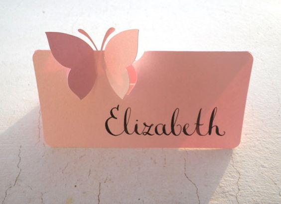 50 Place Cards, Butterfly, Original Calligraphy, Cutout, Scrapbook, Papercut by Mama Tita:
