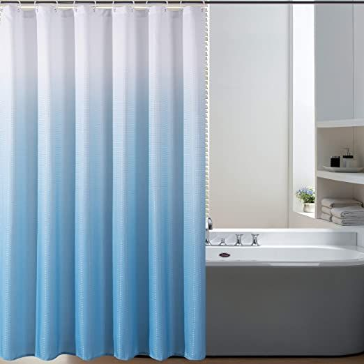 Amazon Com Bermino Textured Fabric Bath Shower Curtain Ombre Shower Curtains For Bathroom With 1 In 2020 Ombre Shower Curtain Bathroom Curtains Blue Shower Curtains
