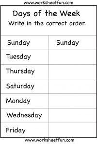 Days Of The Week 1 Worksheet