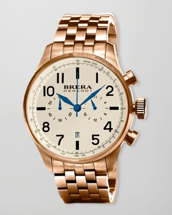 Brera Classico Chronograph Watch, Rose Golden - Neiman Marcus