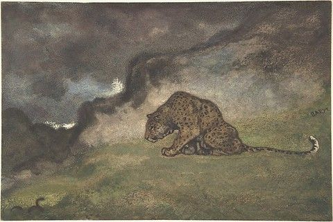 Antoine-Louis Barye (French, 1796–1875). Leopard Watching Serpent, 1810–75. The Metropolitan Museum of Art, New York. H. O. Havemeyer Collection, Bequest of Mrs. H. O. Havemeyer, 1929 (29.100.588) #cats