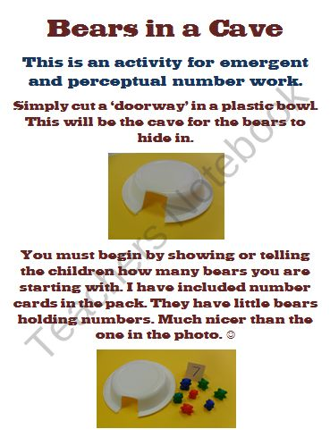 Partitioning Number Worksheets - Bears in a Cave from ...