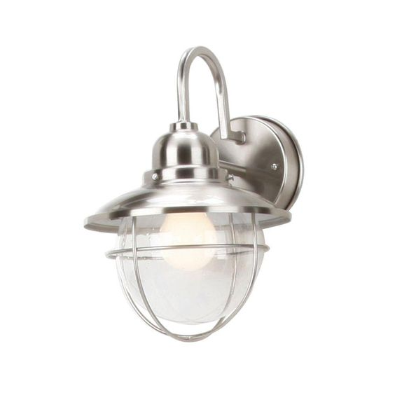 Hampton Bay 1 Light Outdoor Brushed Nickel Cottage Lantern Boa1691h Bn The Home Depot