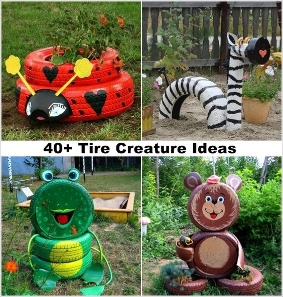 40 ideas to craft recycled tire creatures for your garden for Recycled garden art ideas