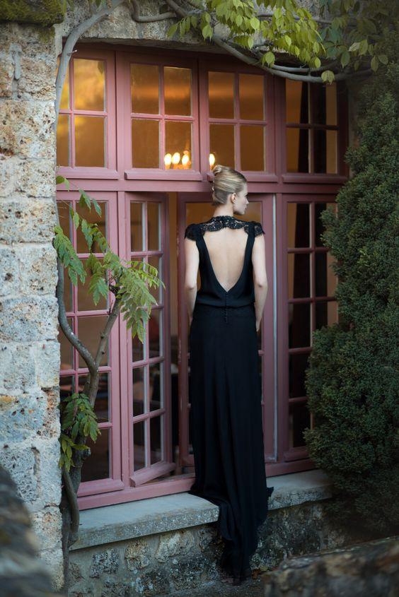 Robe de soirée - Sur Mesure - noire - dentelle de soie - robe de ...