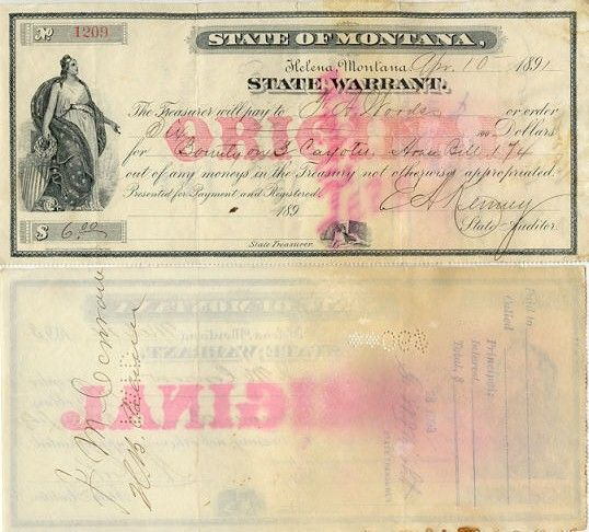 Obsolete bank note & private scrip issued by State ~ Montana