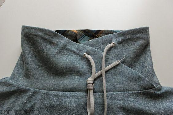 T-SHIRT-BAUSTEINE: Einen Wickel-Kragen statt eines Rollkragens nähen | herzekleid.blogspot.de