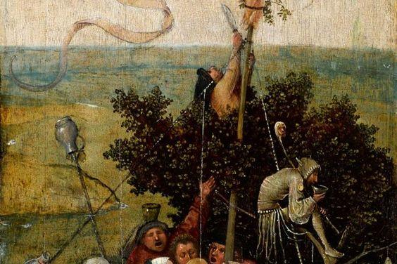 """Die ganze Welt im Boot, angeklagt der Gier und Verrücktheit: Hieronymus Boschs """"Das Narrenschiff"""", ca. 1505–16, aus dem Pariser…"""