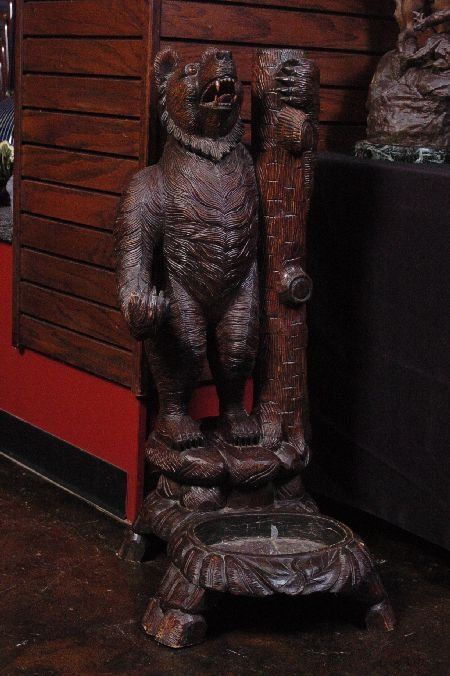 Black Forest Carved Bear Umbrella Stand Virtual Disney