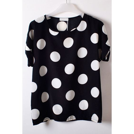 Oversize Polka Dot Chiffon Top ($6.99) ❤ liked on Polyvore featuring tops, oasap, white, white tops, print top, white short top, pattern tops and loose tops