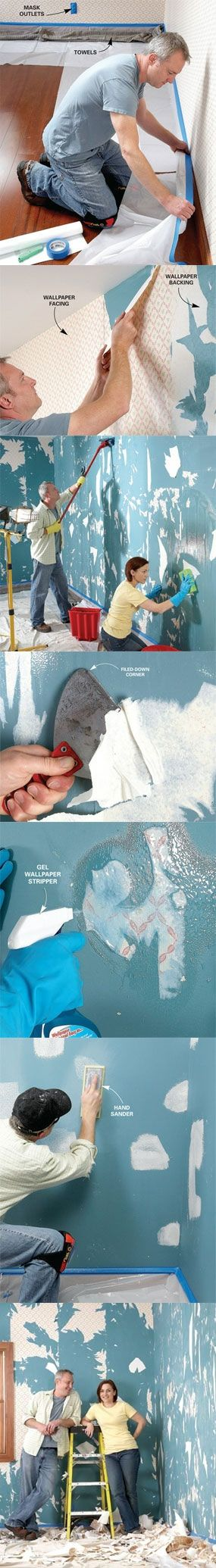Learn the best way to remove wallpaper at http://www.familyhandyman.com/DIY-Projects/Home-Decorating/Wallpaper/the-best-way-to-remove-wallpaper/View-All