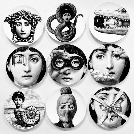 "Italy Style Reproduce Designer Fornasetti Plate Decorative Hanging 8"" Dishes"